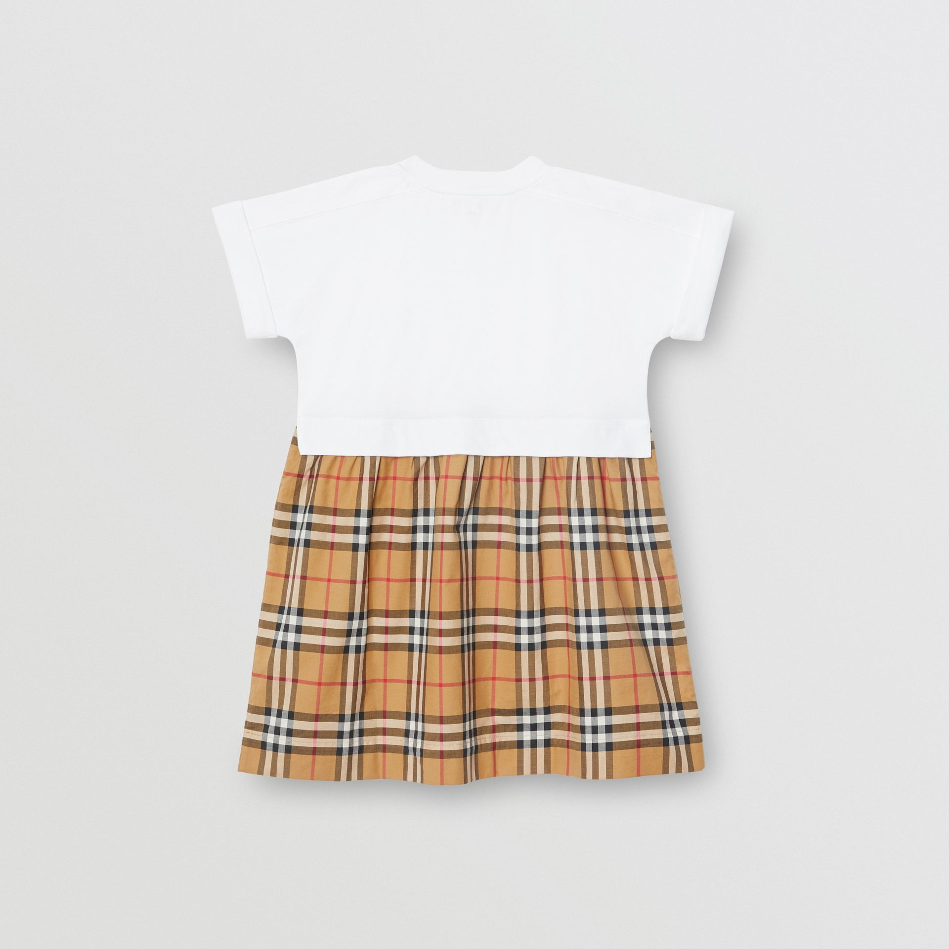 Vintage Check Cotton Dress in White | Burberry Australia - gallery image 3