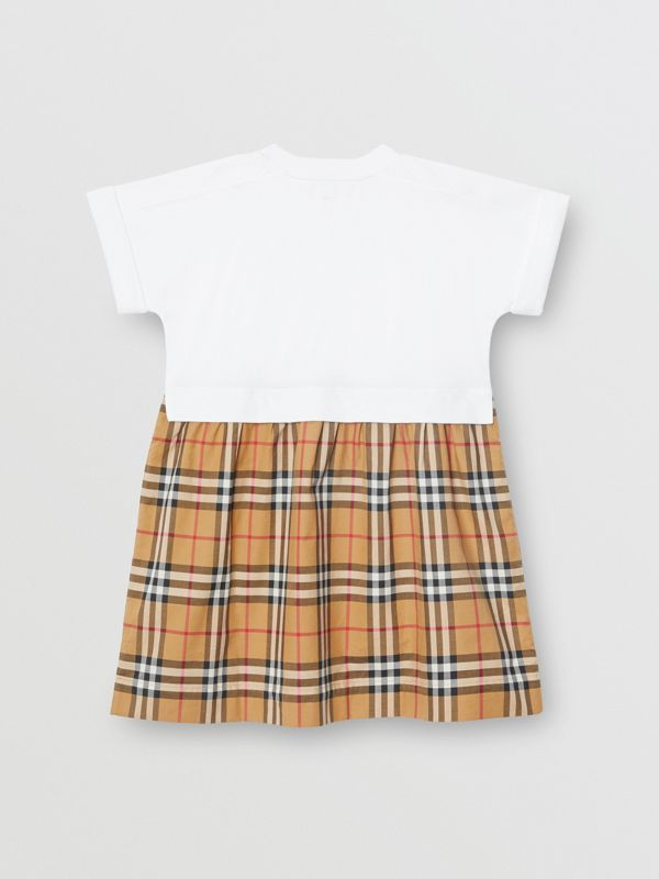 Vintage Check Cotton Dress in White | Burberry - cell image 3
