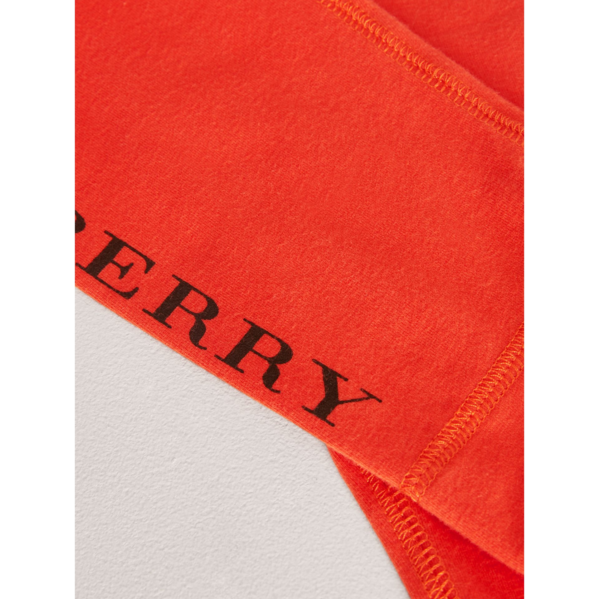 Logo Detail Stretch Cotton Leggings in Orange Red | Burberry - gallery image 1