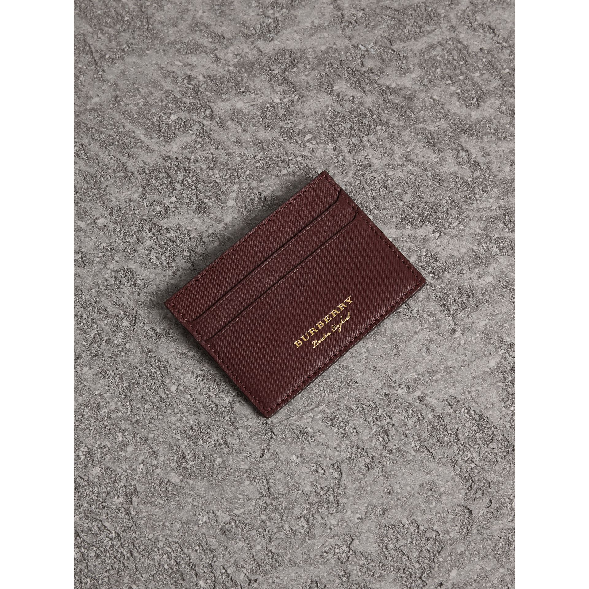 Trench Leather Card Case in Wine - Men | Burberry United States - gallery image 1