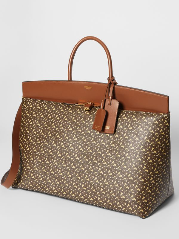 Extra Large Monogram E-canvas Society Top Handle Bag in Bridle Brown - Men | Burberry - cell image 2