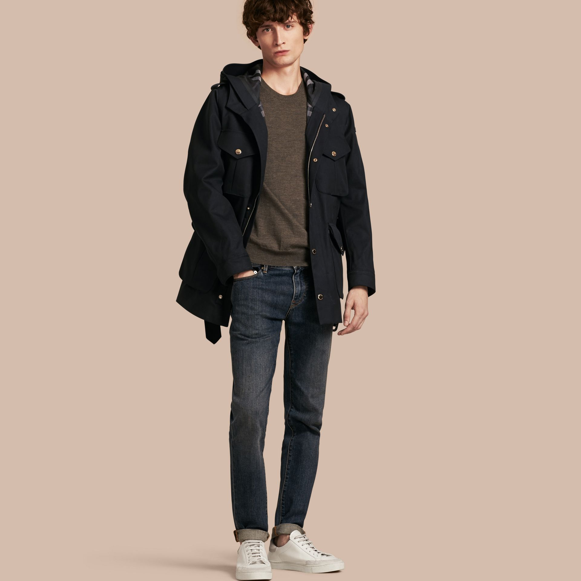 Hooded Bonded Cotton Field Jacket - gallery image 1