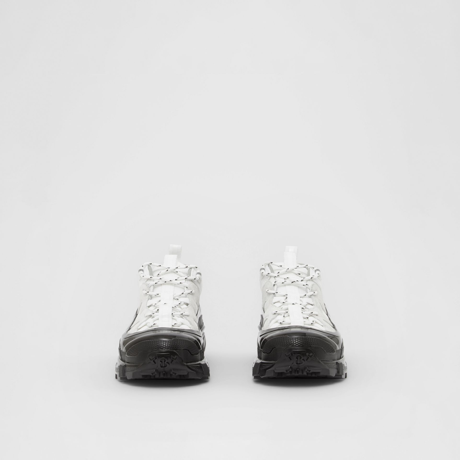 Nylon and Suede Arthur Sneakers in White - Women | Burberry - gallery image 3