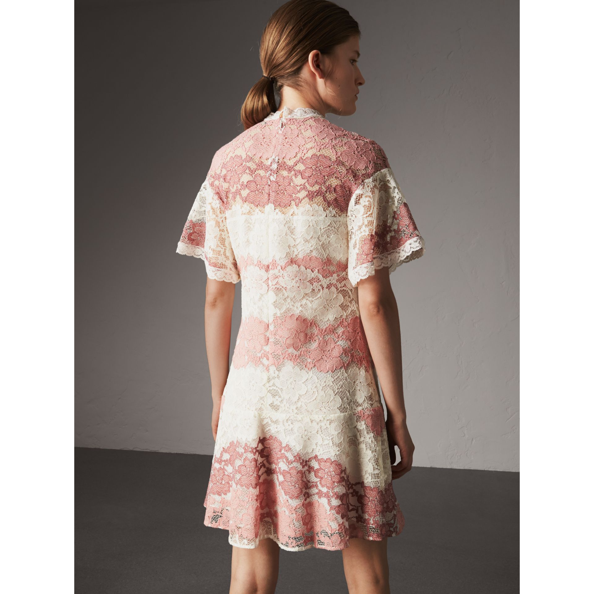 Floral Lace Dress with Flutter Sleeves in Dusty Pink - Women | Burberry - gallery image 3