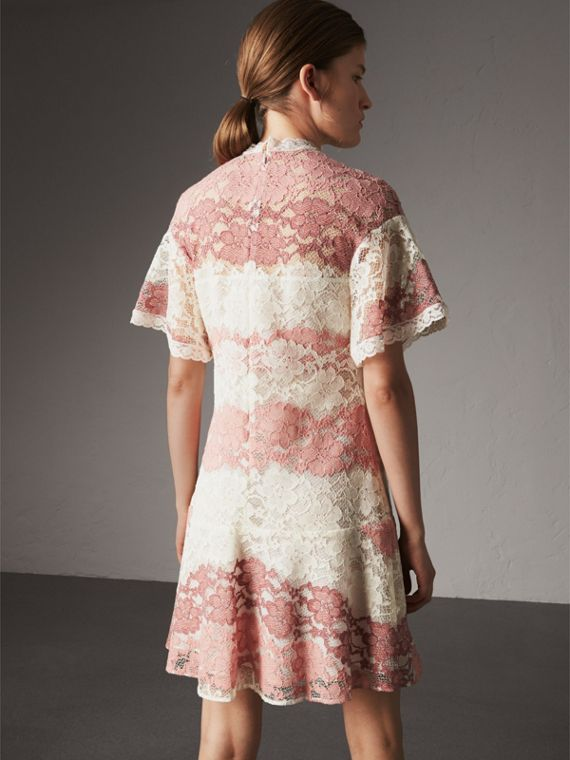 Floral Lace Dress with Flutter Sleeves in Dusty Pink - Women | Burberry - cell image 2