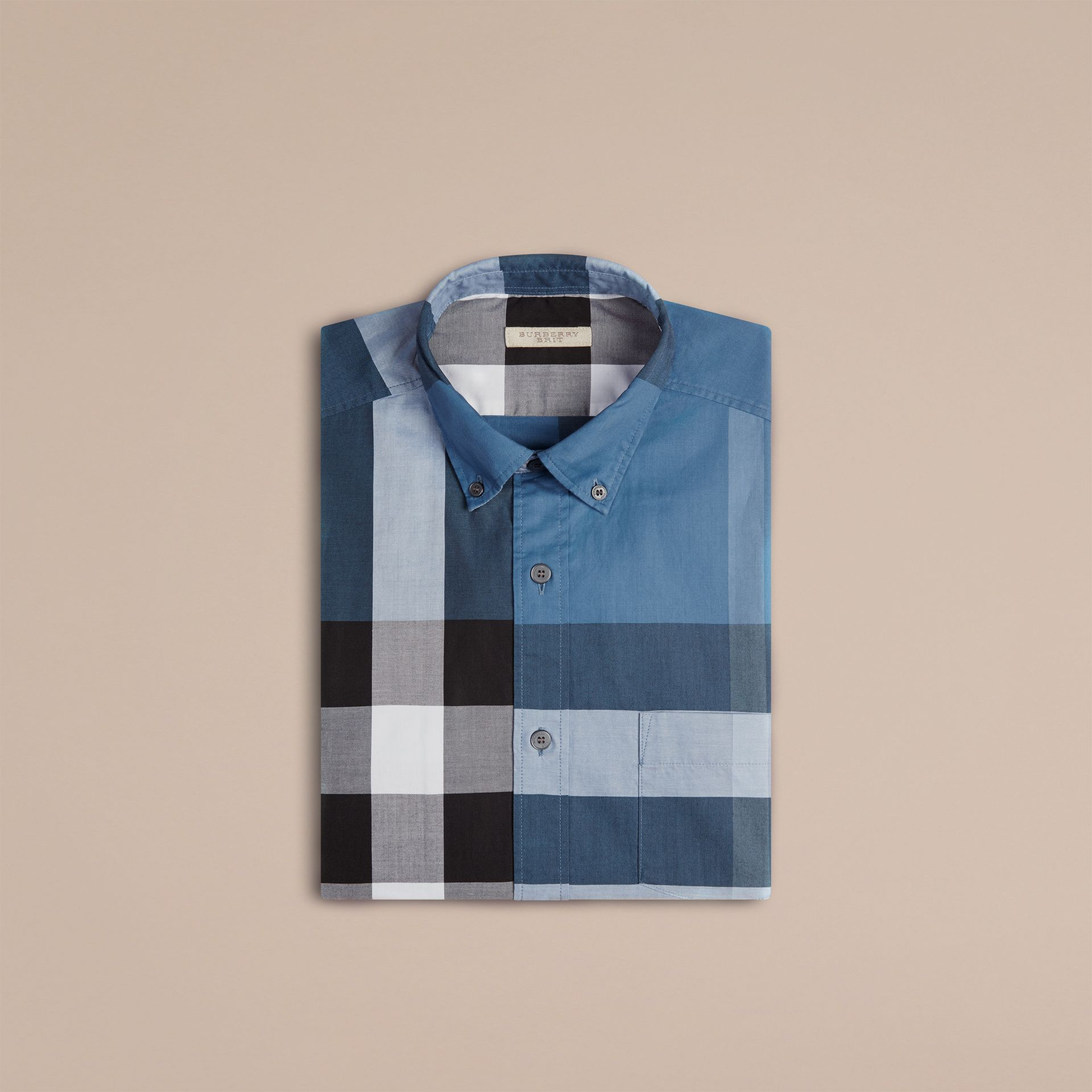 Lupin blue Check Cotton Shirt Lupin Blue - gallery image 4