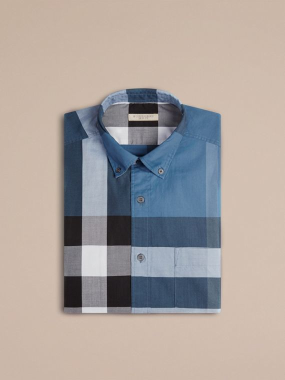 Lupin blue Check Cotton Shirt Lupin Blue - cell image 3