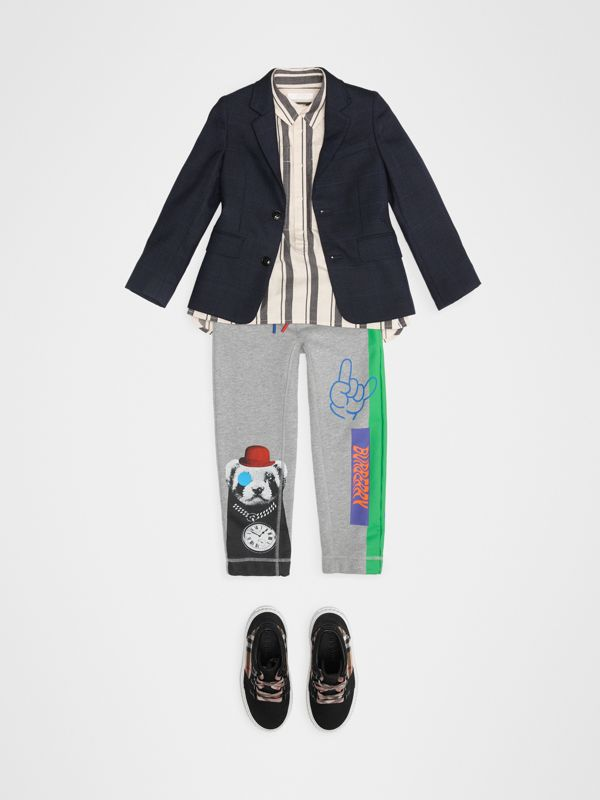 London Street Art Print Cotton Trackpants in Grey Melange | Burberry - cell image 2