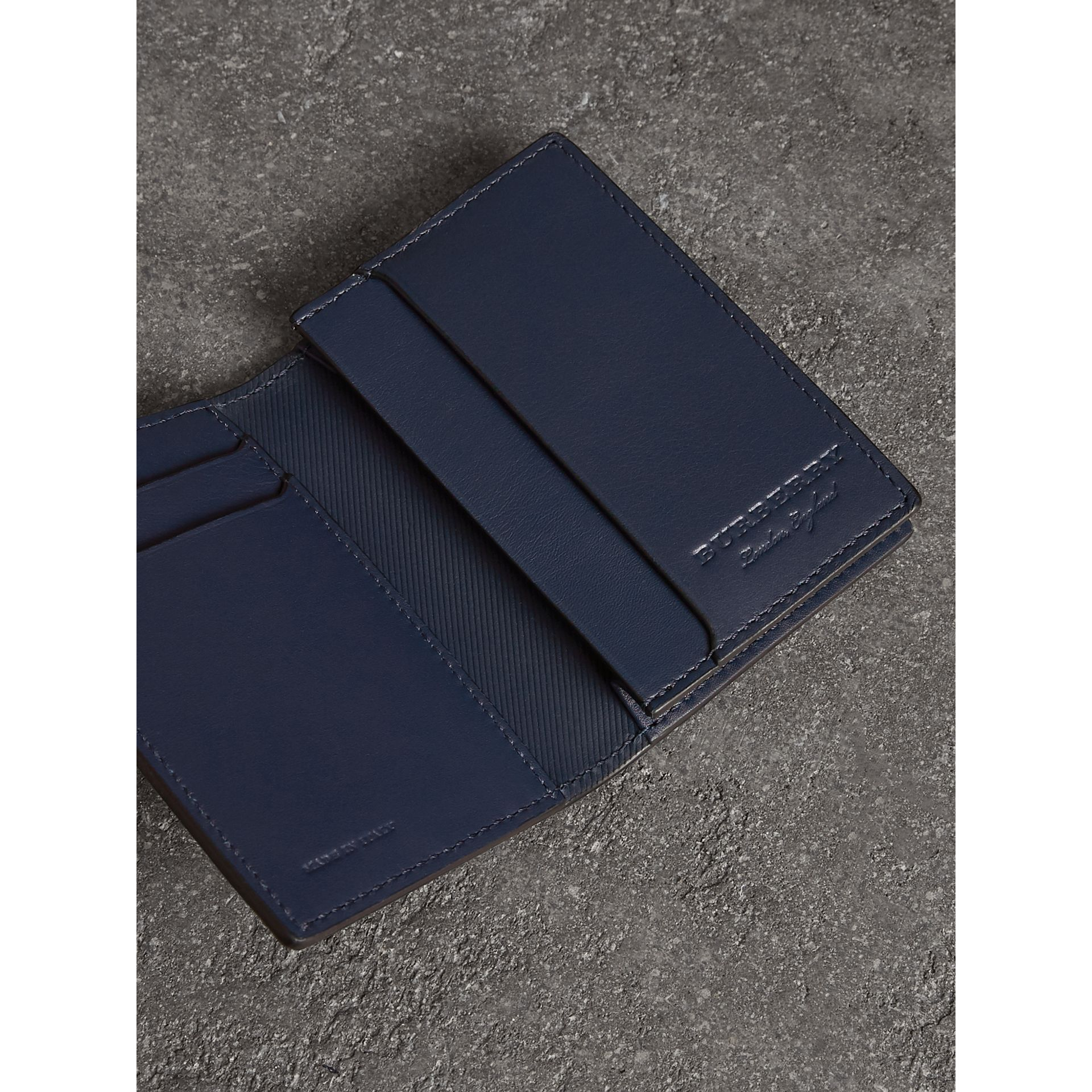 Trench Leather Folding Card Case in Ink Blue | Burberry - gallery image 1