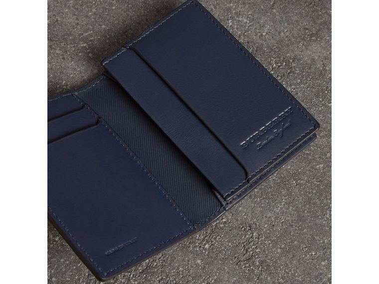 Trench Leather Folding Card Case in Ink Blue - Men | Burberry - cell image 1