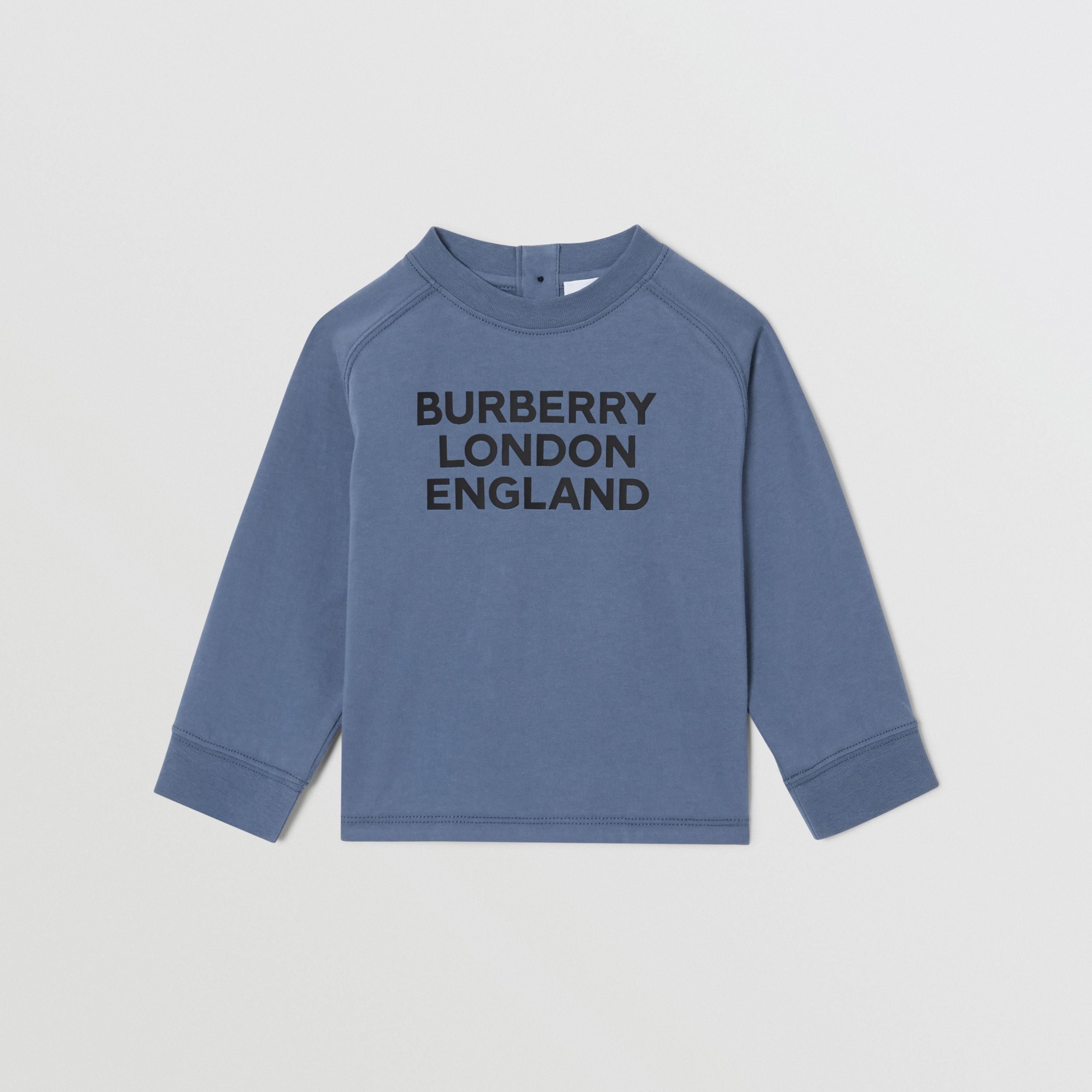 Long-sleeve Logo Print Cotton Top in Steel Blue - Children | Burberry - 1