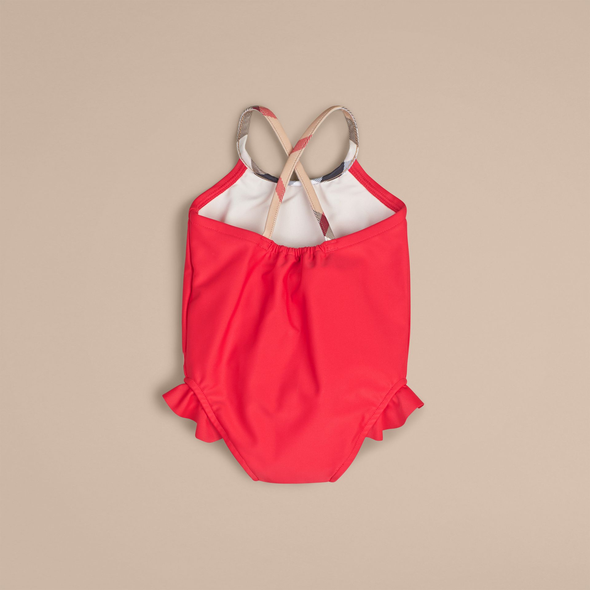 Check Detail One-piece Swimsuit in Poppy Red | Burberry - gallery image 2
