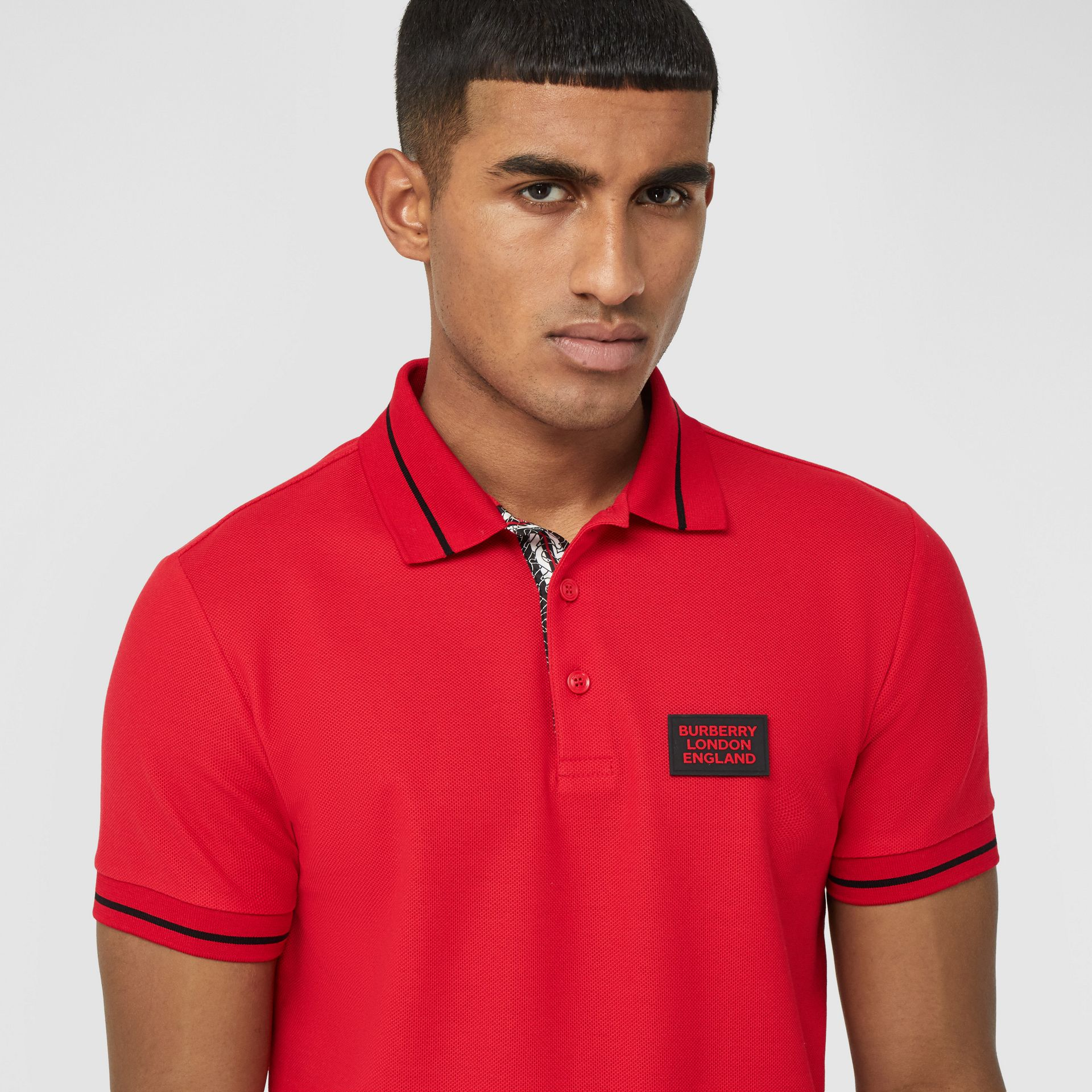 Logo Appliqué Cotton Piqué Polo Shirt in Bright Red - Men | Burberry - gallery image 1