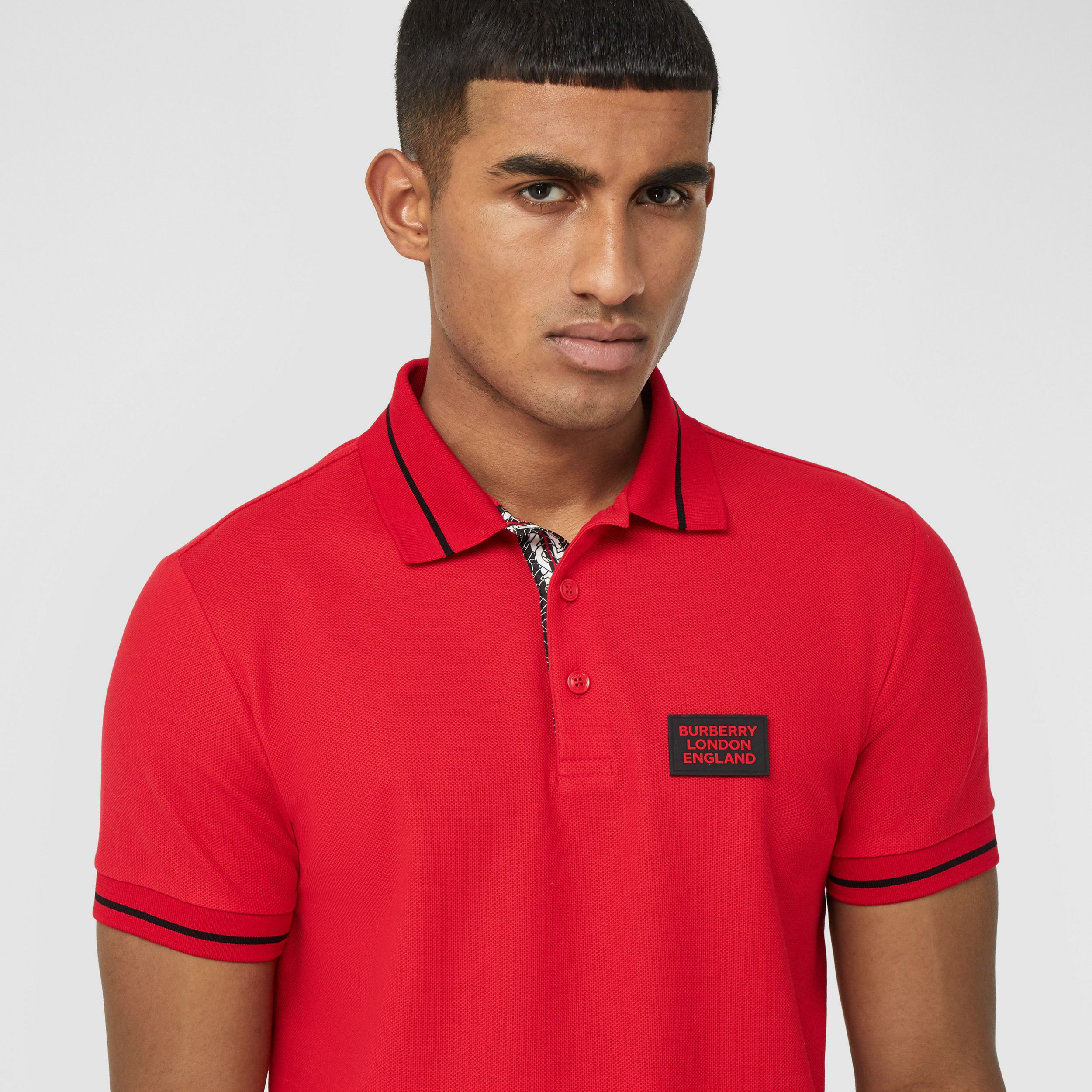 Logo Appliqué Cotton Piqué Polo Shirt in Bright Red - Men | Burberry - 2