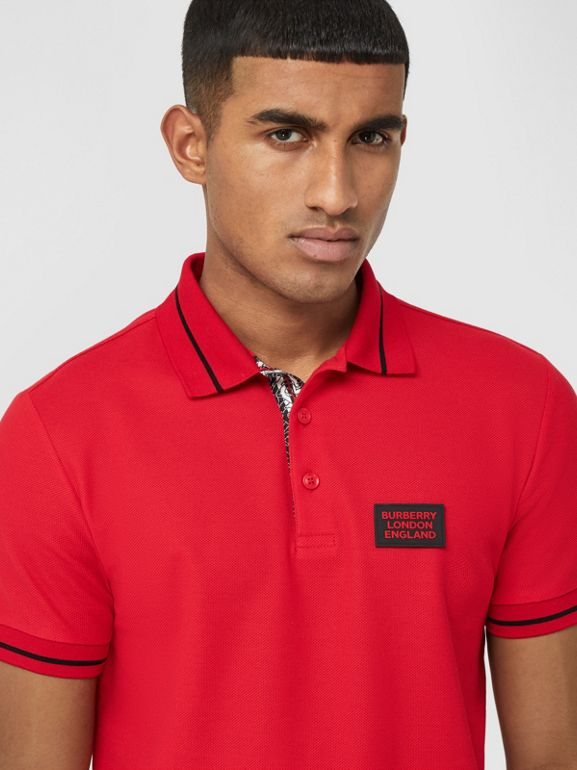 Logo Appliqué Cotton Piqué Polo Shirt in Bright Red - Men | Burberry - cell image 1