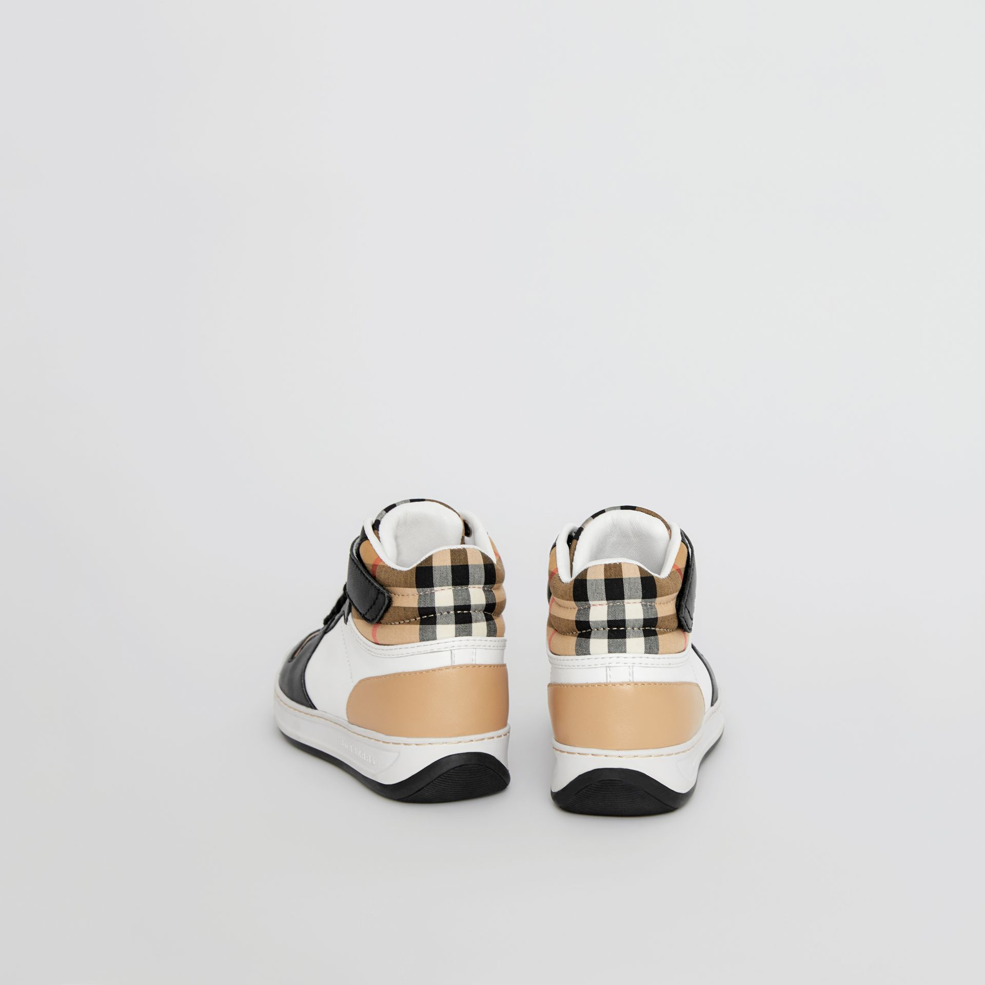 Vintage Check and Leather High-top Sneakers in Antique Yellow - Children | Burberry United Kingdom - gallery image 2