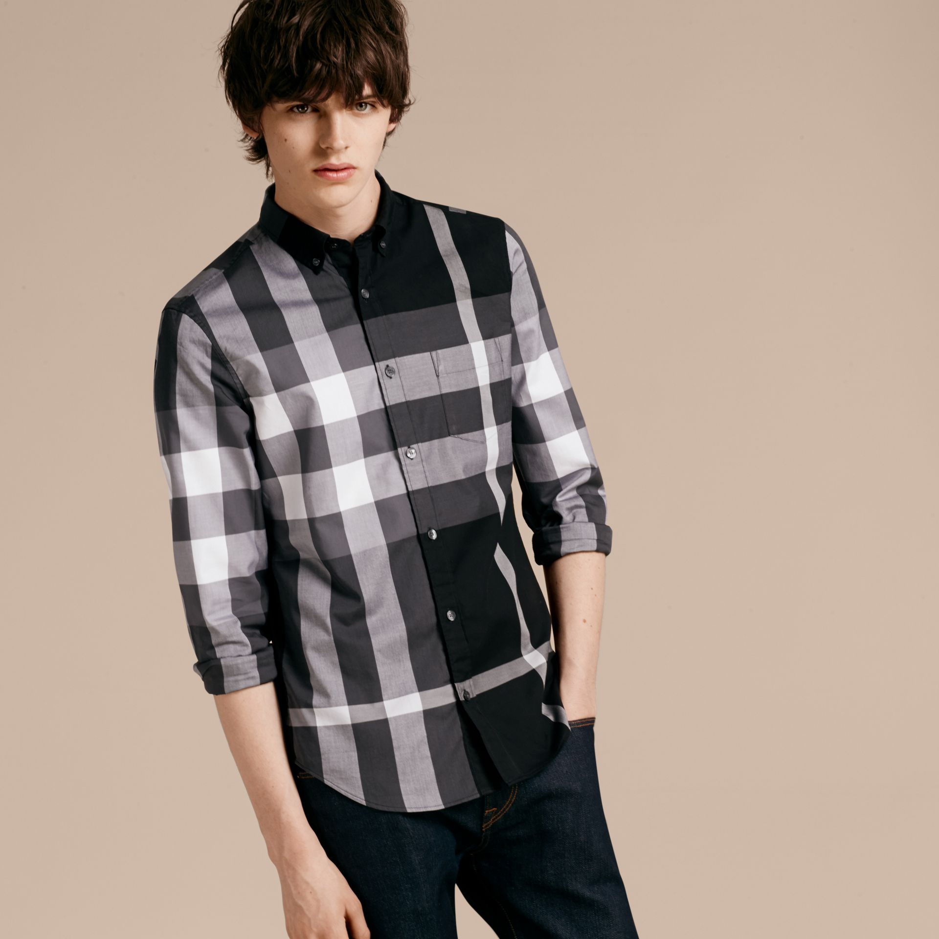 Black Check Cotton Shirt Black - gallery image 6