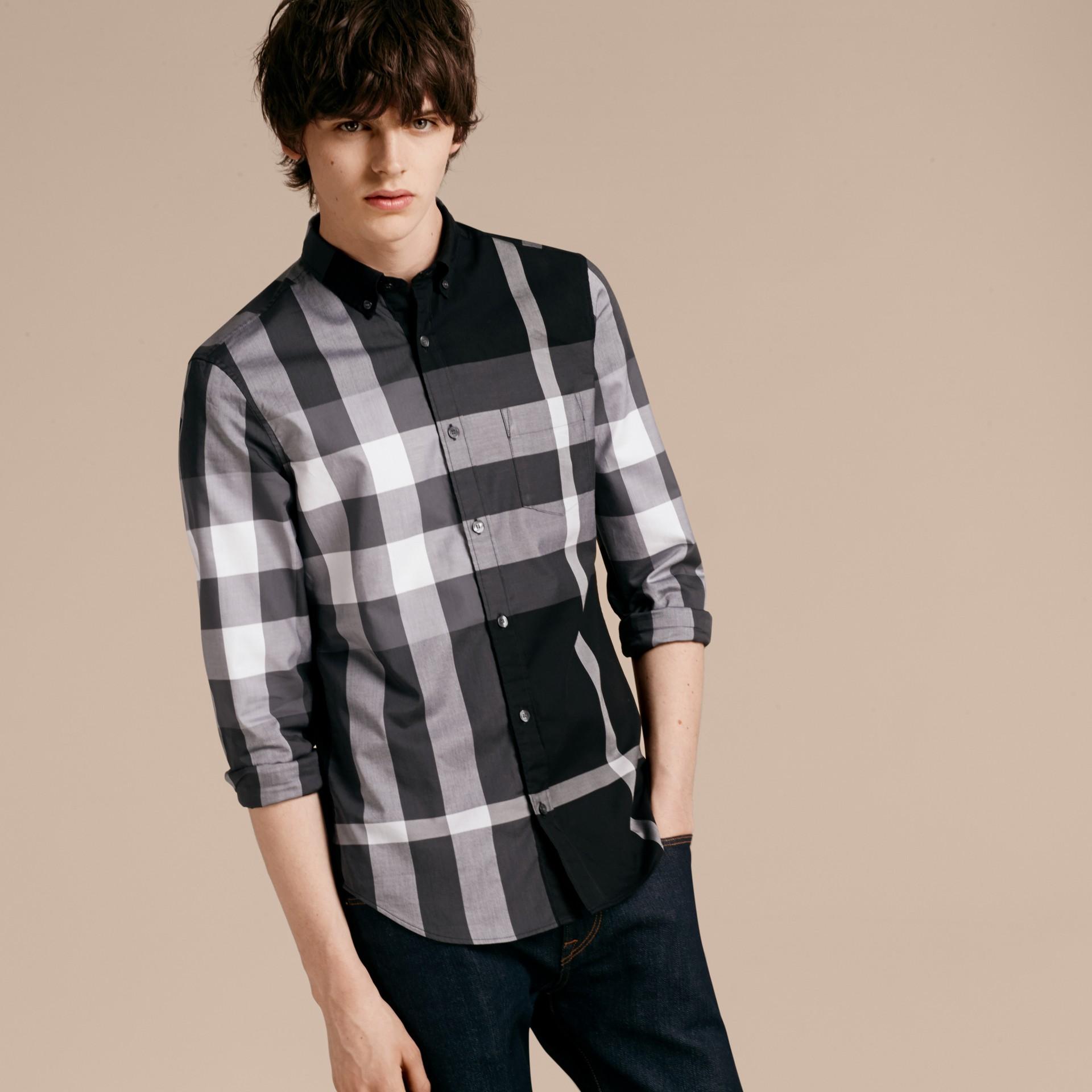 Nero Camicia in cotone con motivo check Nero - immagine della galleria 6