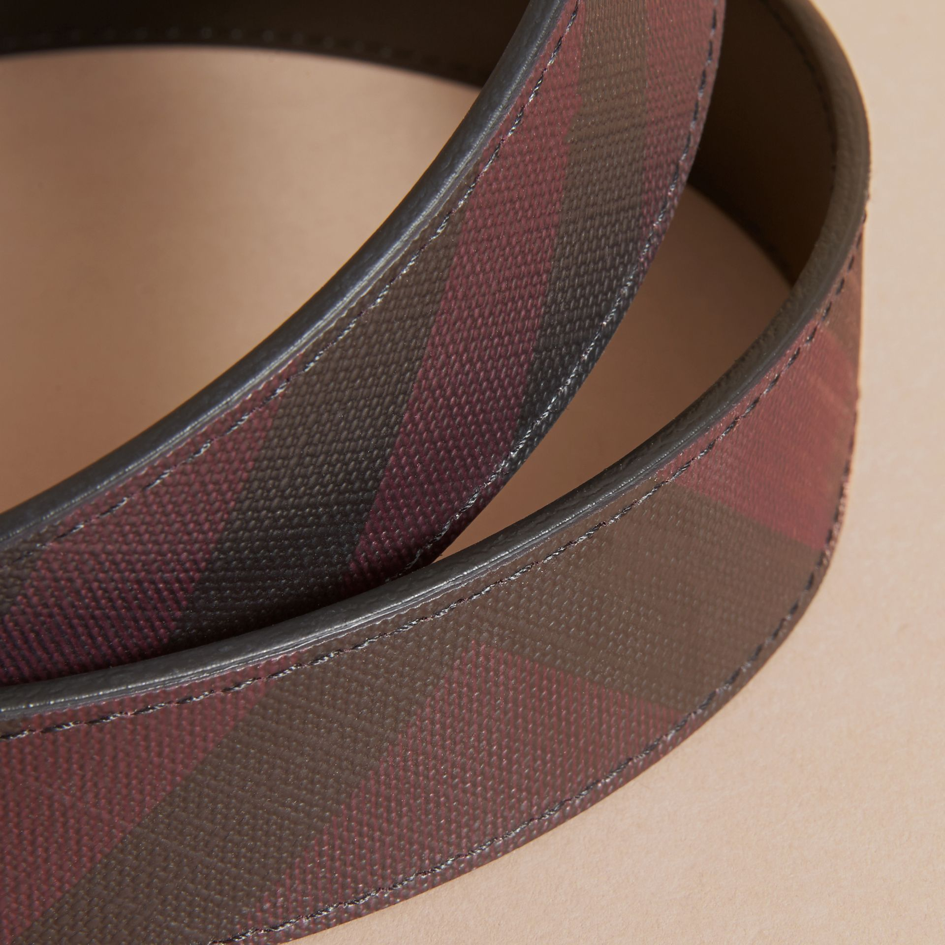 Reversible London Check and Leather Belt in Deep Claret/black - Men | Burberry - gallery image 2