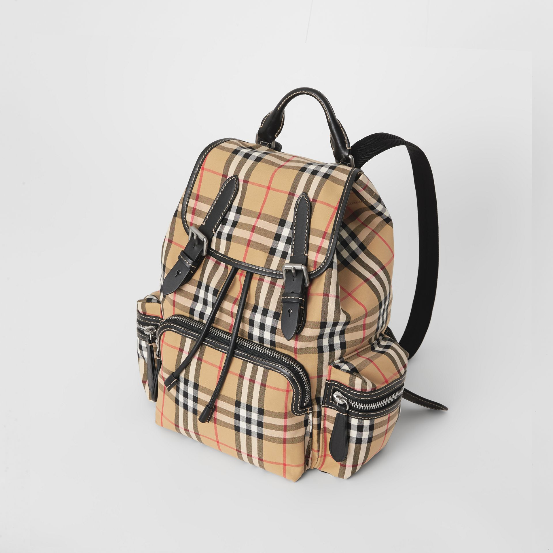 The Medium Rucksack in Vintage Check Cotton Canvas in Antique Yellow - Women | Burberry - gallery image 2
