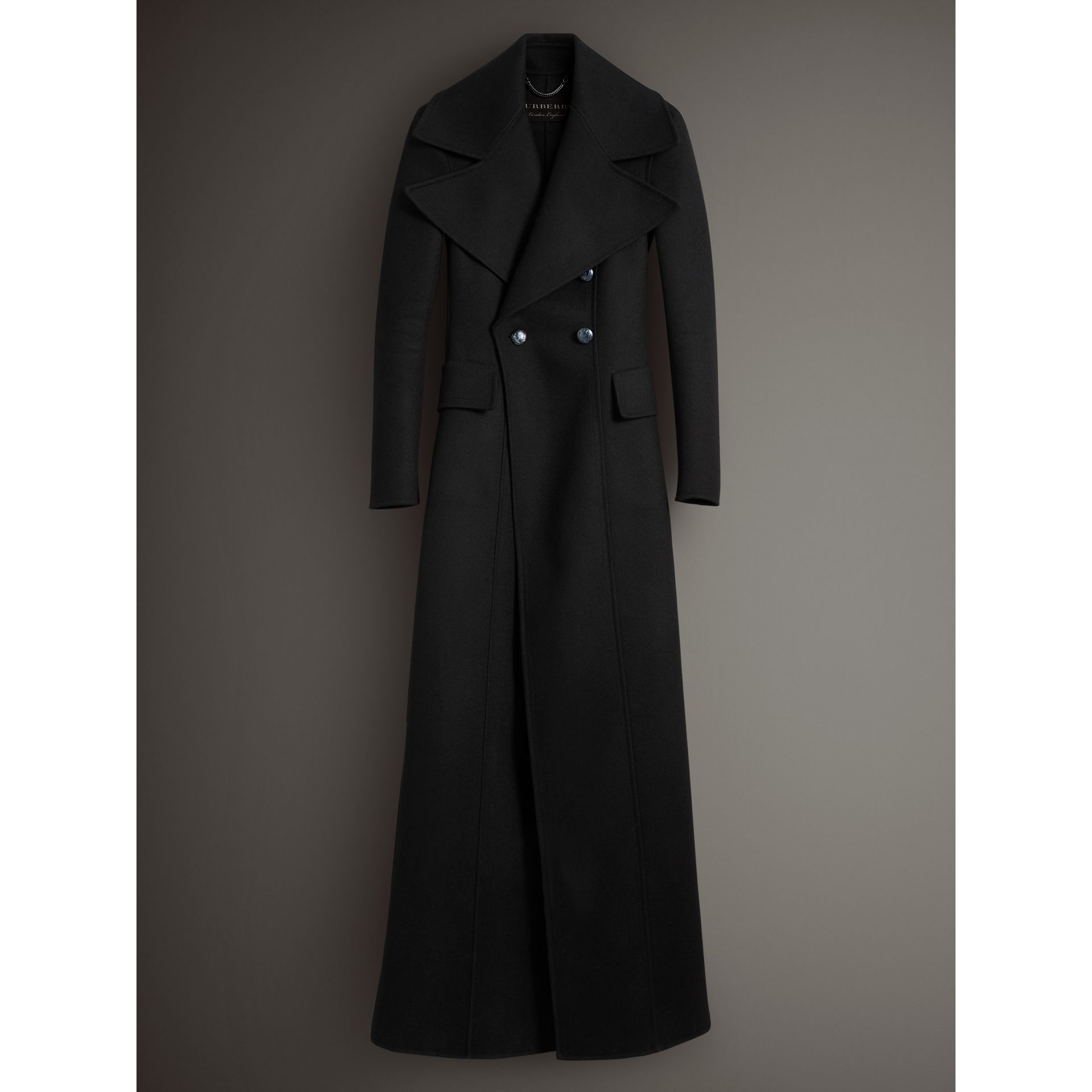 Felted Wool Full-length Tailored Coat in Black - Women | Burberry United Kingdom - gallery image 3