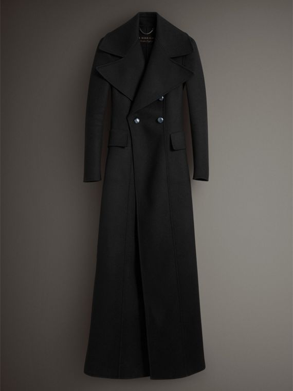 Felted Wool Full-length Tailored Coat in Black - Women | Burberry United Kingdom - cell image 3