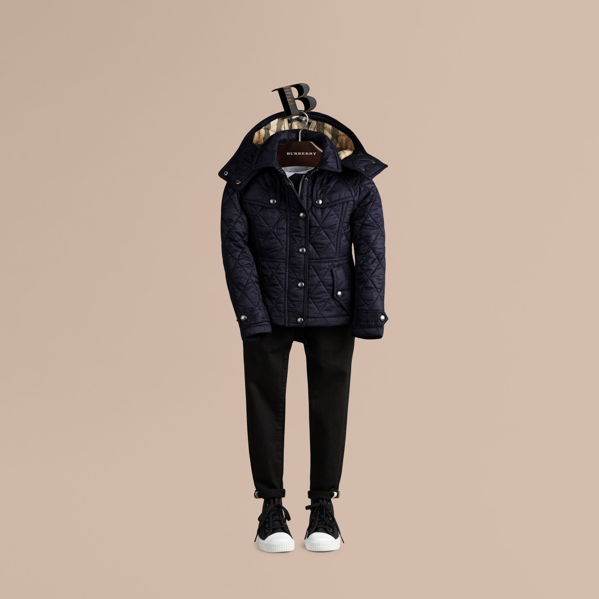 Military navy Check-lined Quilted Jacket - gallery image 3