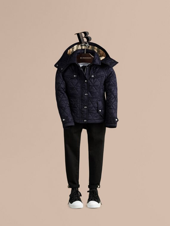 Military navy Check-lined Quilted Jacket - cell image 2