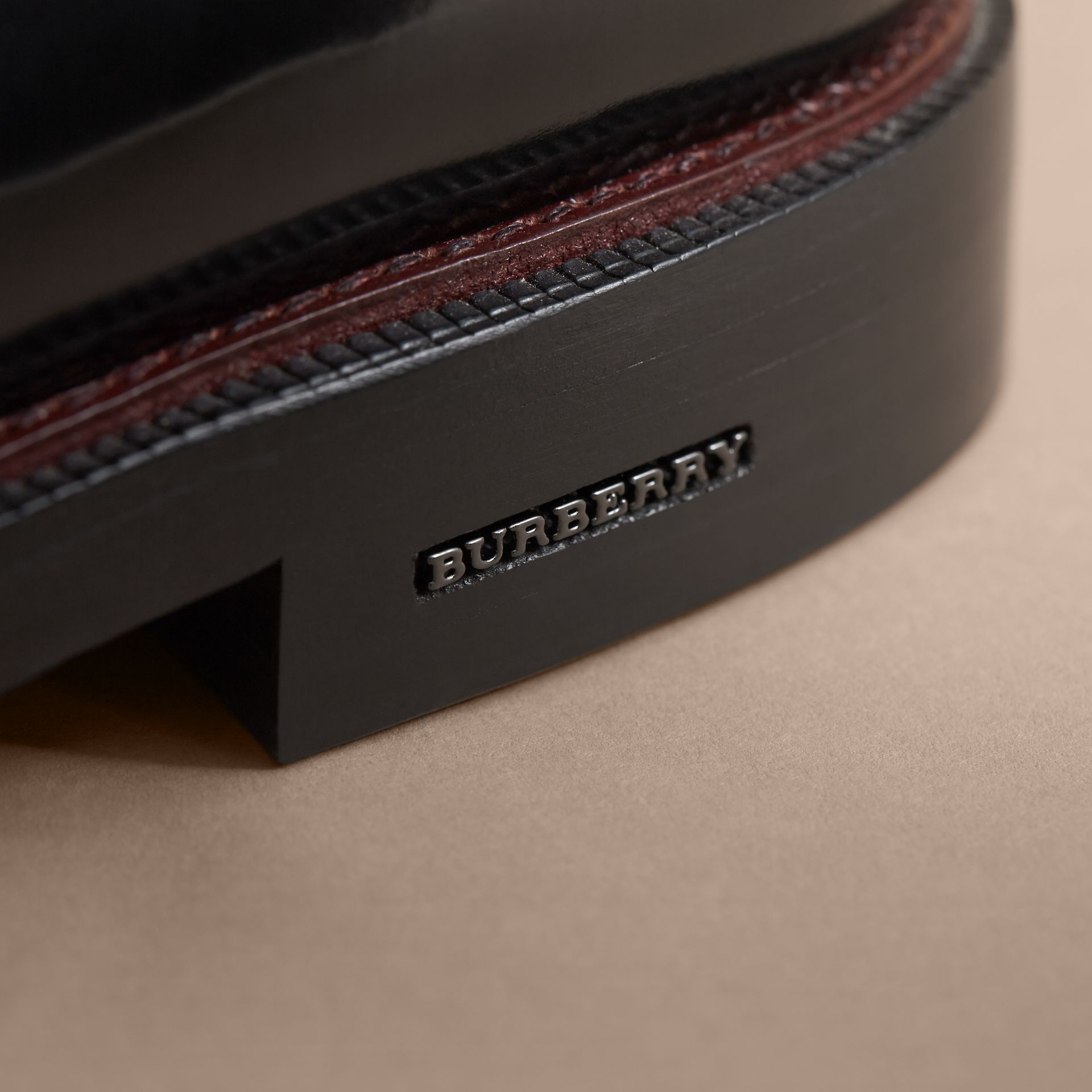 Polished Leather Desert Boots in Black - Men | Burberry Canada - gallery image 2