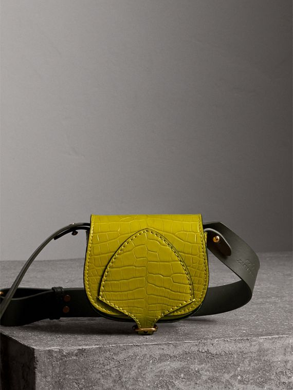The Satchel con tasca in pelle di alligatore (Lime Scuro)