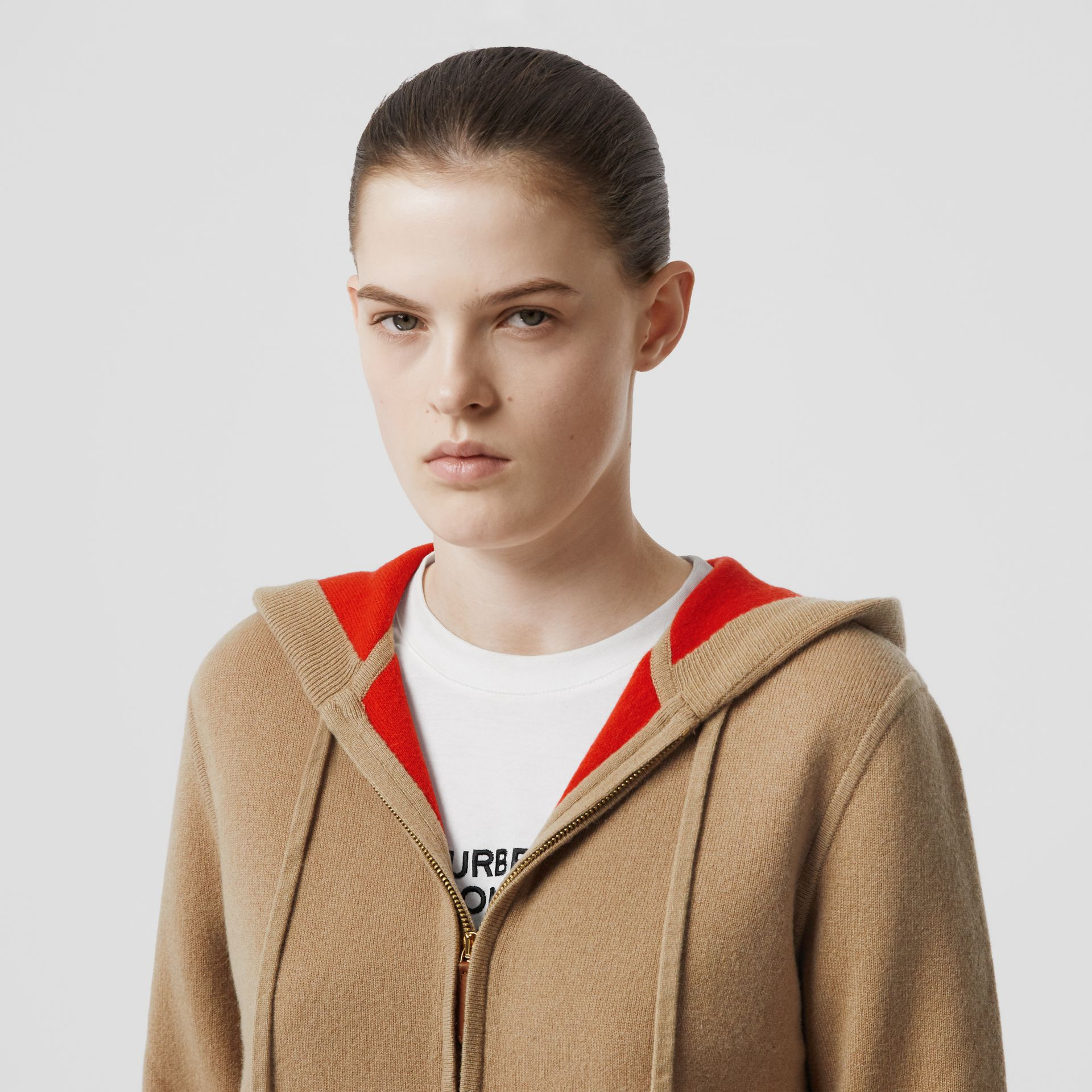 Embroidered Logo Cashmere Hooded Top in Archive Beige - Women | Burberry - gallery image 6