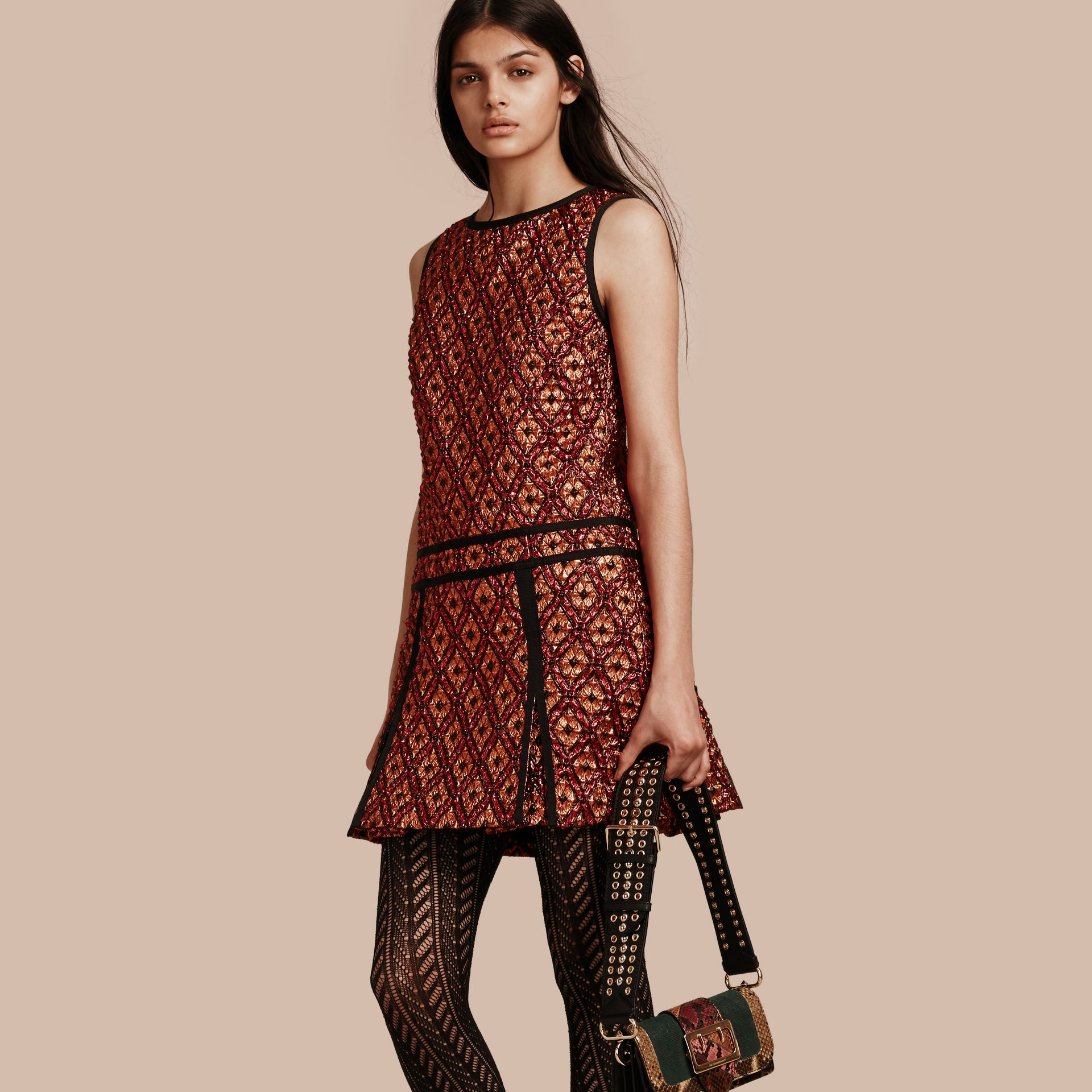 Cinnamon red Diamond Jacquard Sleeveless Dress - gallery image 1