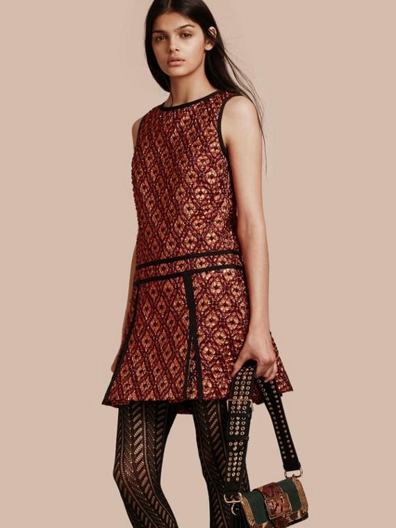 Diamond Jacquard Sleeveless Dress