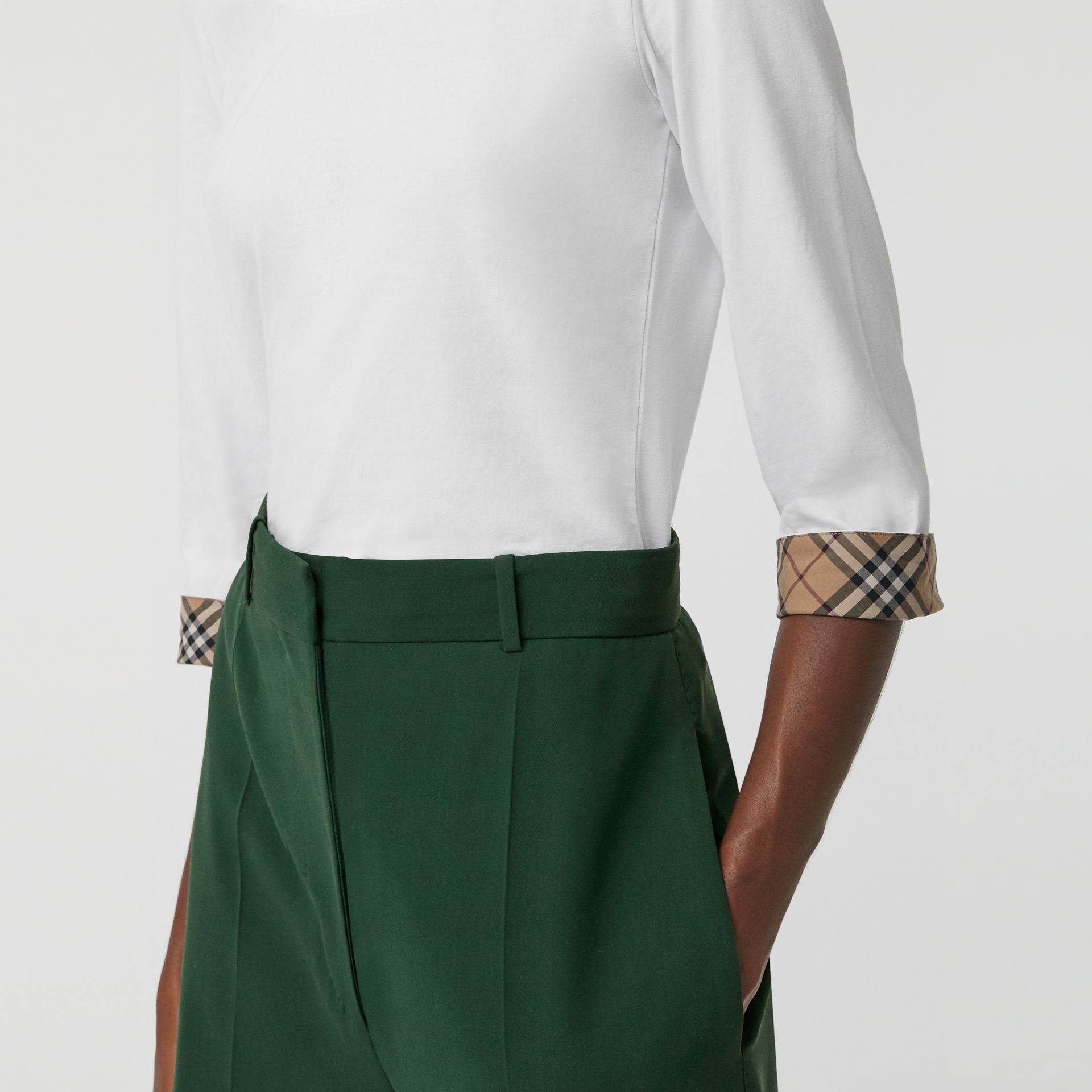 Check Detail Stretch Cotton Top in White - Women | Burberry - gallery image 1