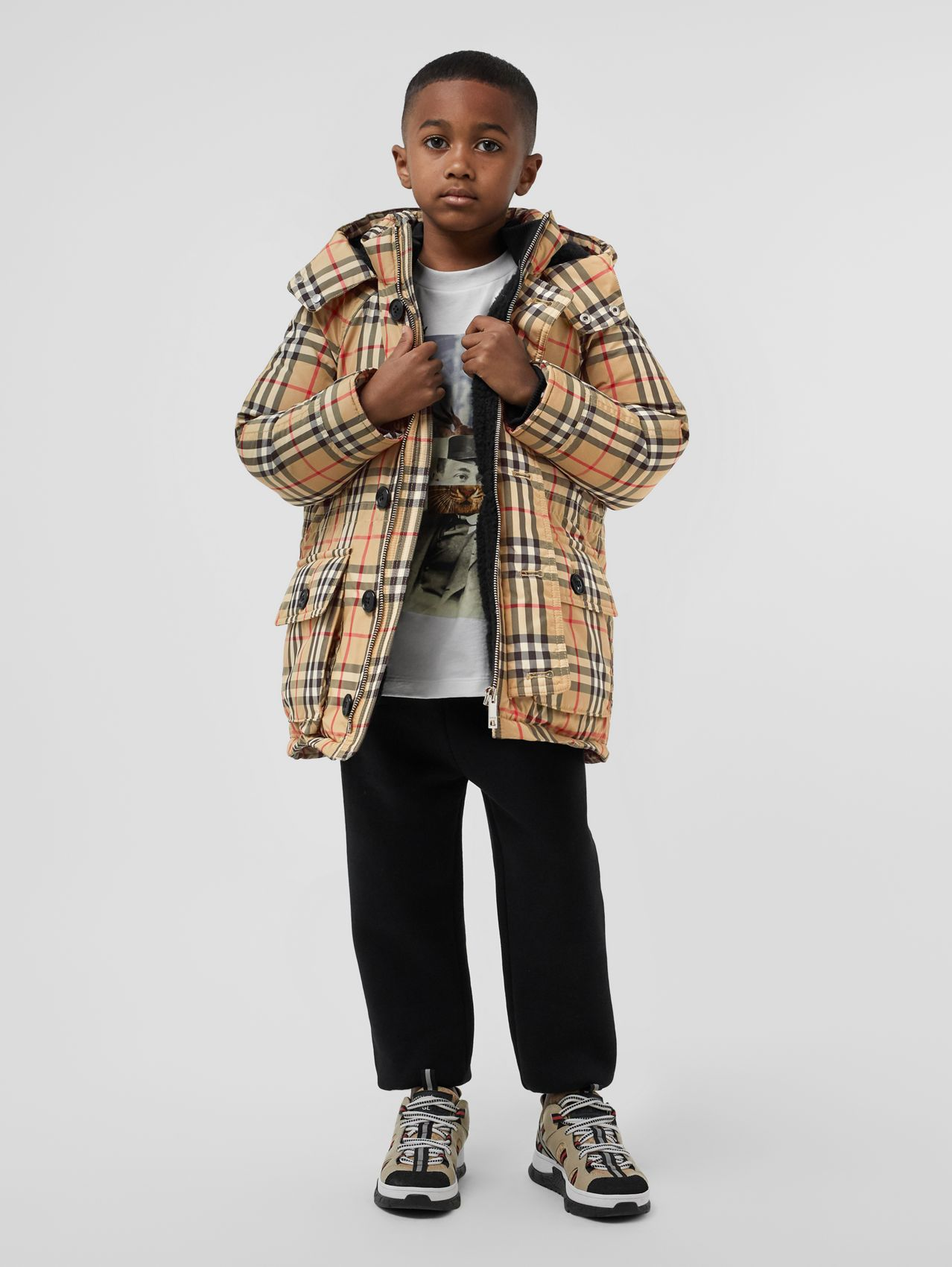 Vintage Check Down-filled Hooded Puffer Jacket in Archive Beige