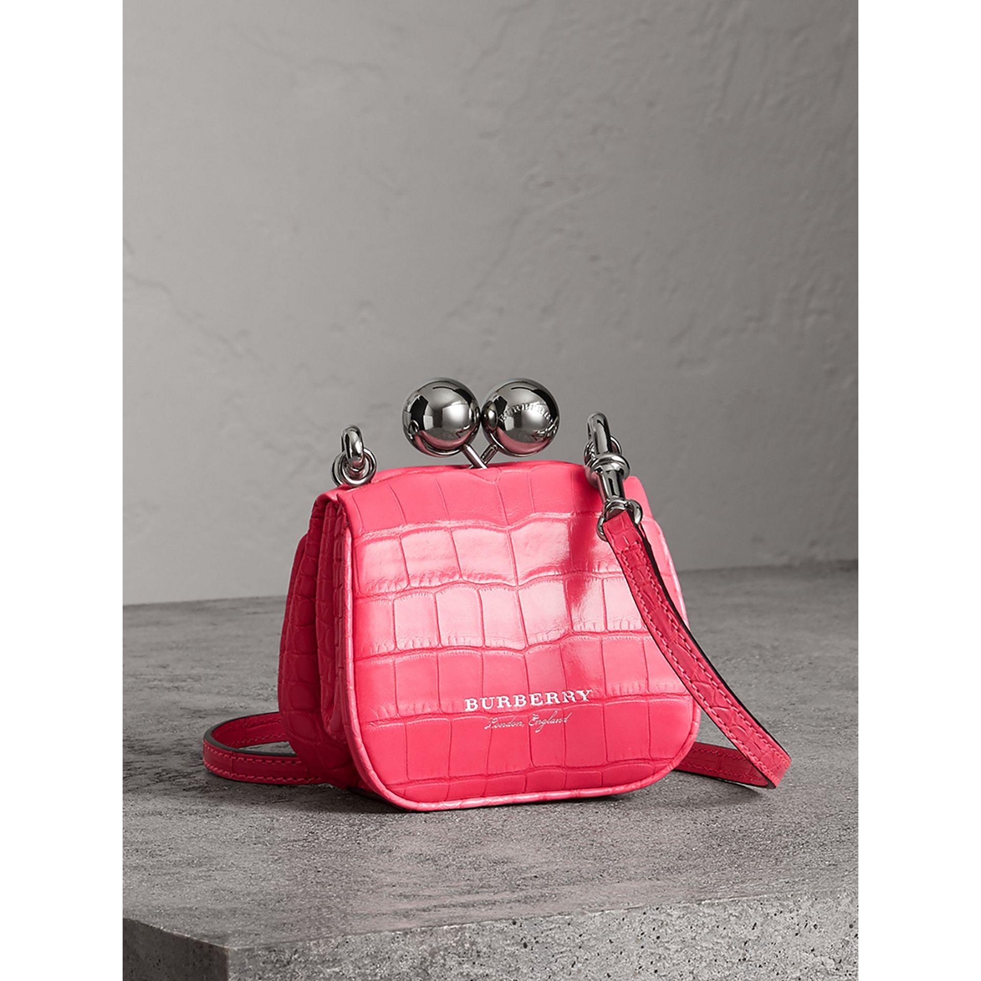 Mini Alligator Metal Frame Clutch Bag in Neon Pink - Women | Burberry Hong Kong - gallery image 5