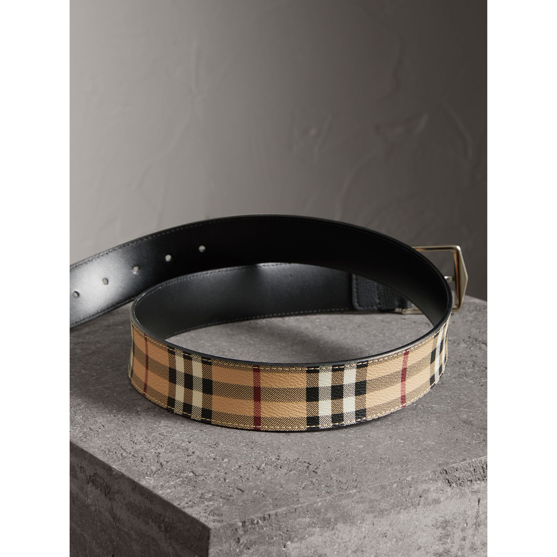 Haymarket Check Belt in Black - Men | Burberry Australia - gallery image 3