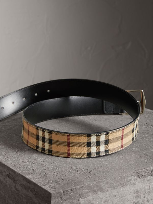 Haymarket Check Belt in Black - Men | Burberry Australia - cell image 3