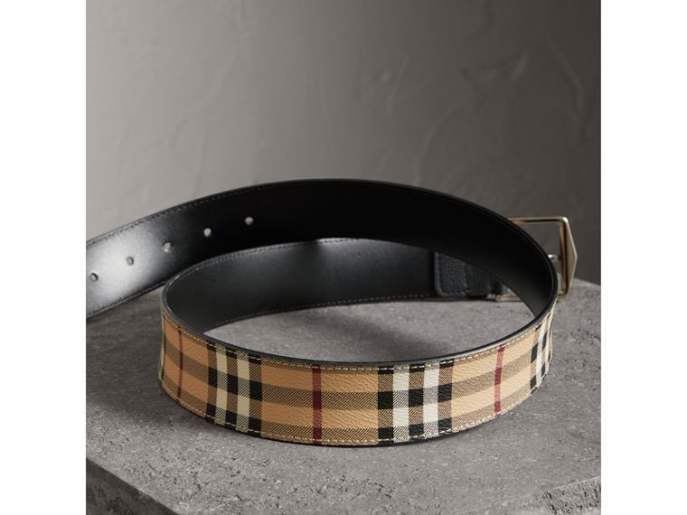 Haymarket Check Belt in Black - Men | Burberry United States - cell image 2