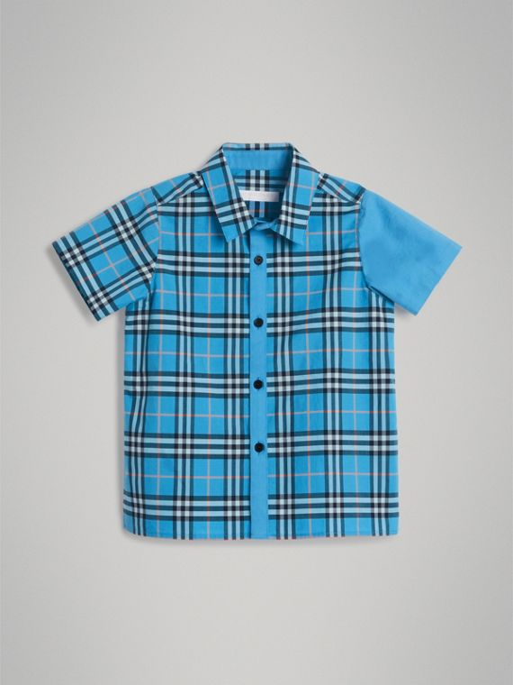 Short-sleeve Archive Logo Detail Check Cotton Shirt in Azure Blue