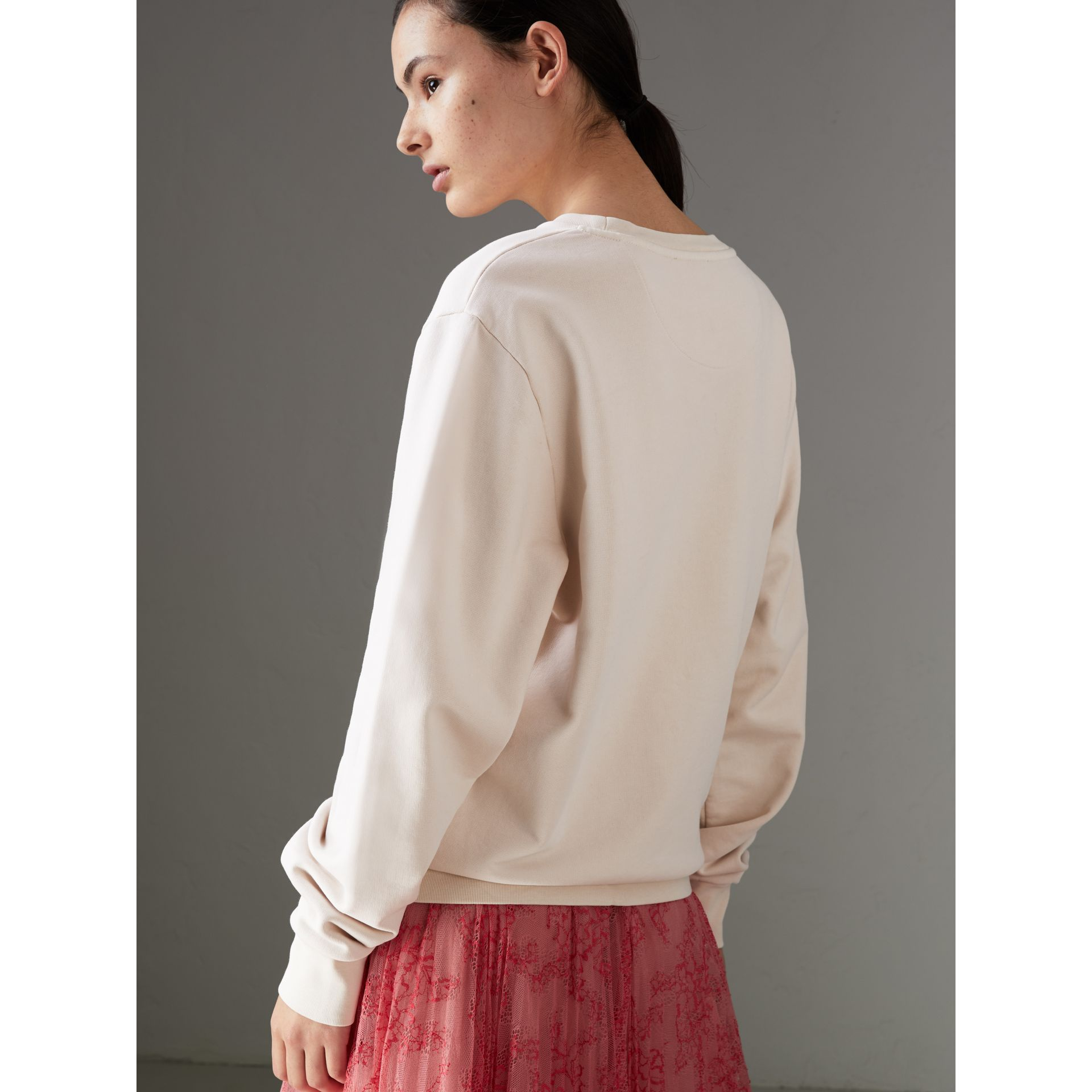 Postcard Print Cotton Sweatshirt in Pale Pink - Women | Burberry - gallery image 2