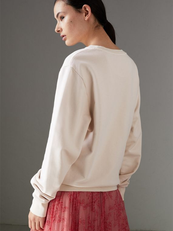 Postcard Print Cotton Sweatshirt in Pale Pink - Women | Burberry - cell image 2