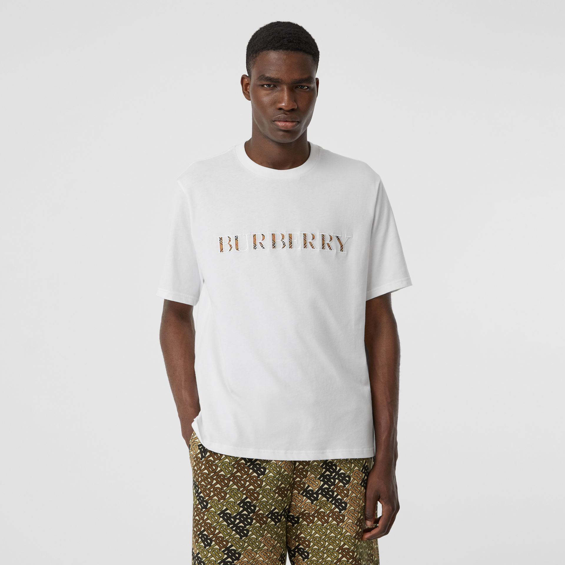Embroidered Check Logo Cotton T-shirt in White - Men | Burberry - gallery image 4