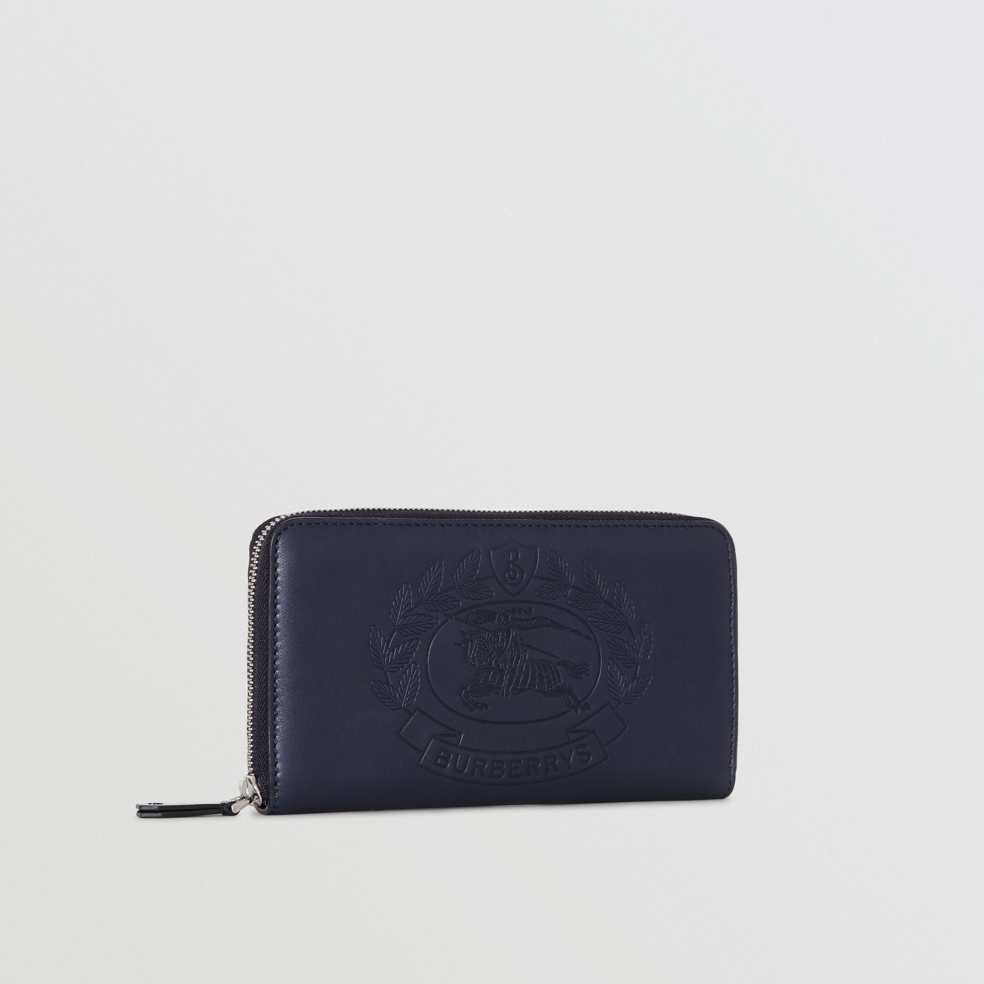 Embossed Crest Leather Ziparound Wallet in Regency Blue - Men | Burberry - gallery image 4