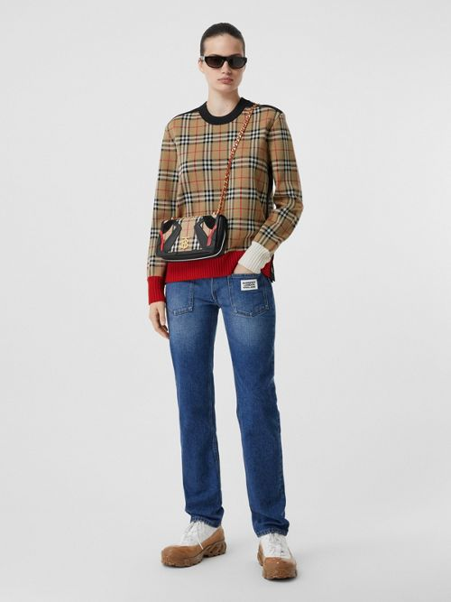 Burberry Sweaters BUTTON DETAIL CHECK TECHNICAL WOOL JACQUARD SWEATER