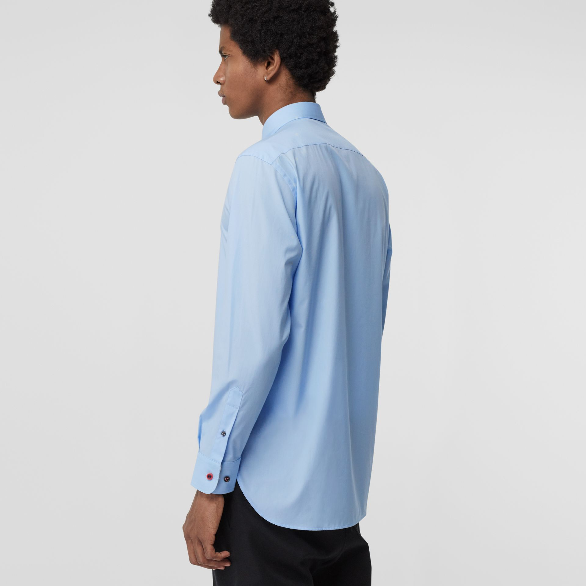 Contrast Button Stretch Cotton Shirt in Pale Blue - Men | Burberry Canada - gallery image 2