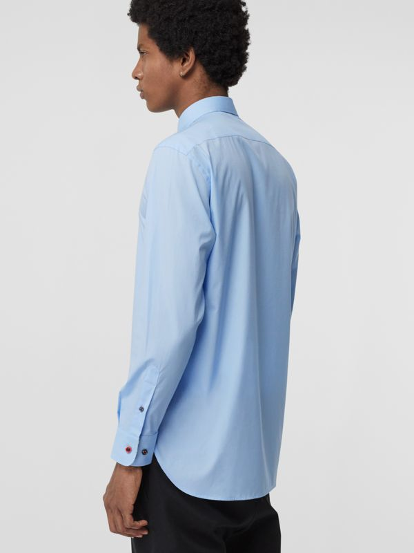 Contrast Button Stretch Cotton Shirt in Pale Blue - Men | Burberry Hong Kong S.A.R - cell image 2