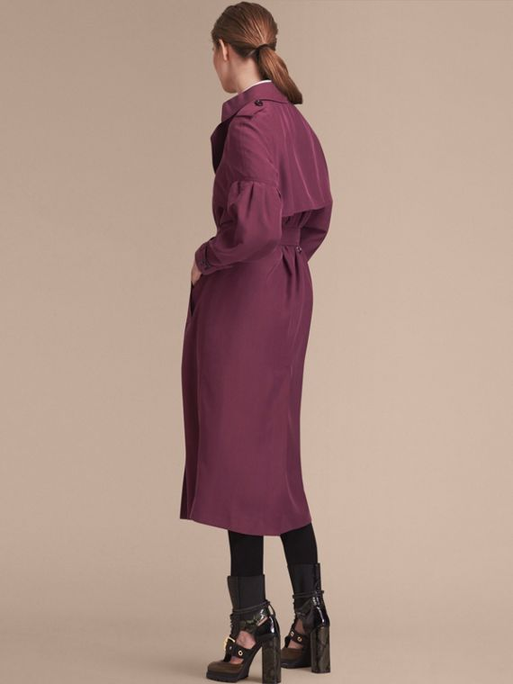Oversize Silk Trench Coat with Puff Sleeves Burgundy - cell image 2