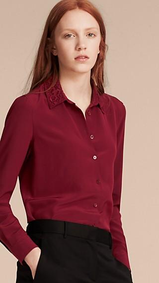 Lace Collar Silk Shirt