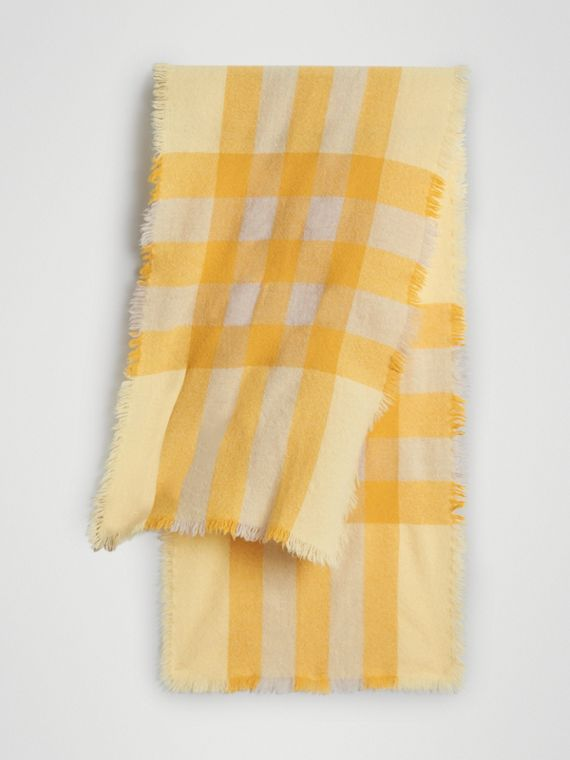 Lightweight Check Wool and Cashmere Scarf in Pale Primrose